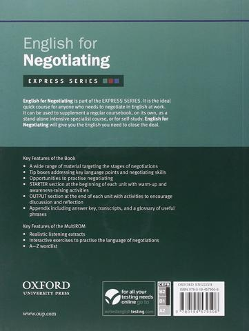 English for Negotiating includes a Multirom back cover